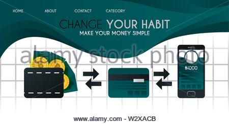make your money and bitcoin easier with a credit or debit card and more easily with the cashless application vector illustration concept, can be use f - Stock Photo