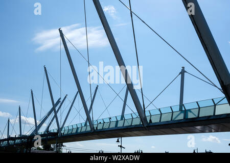The Forthside Footbridge over the Railway line in Stirling city centre Stirlingshire Scotland - Stock Photo