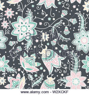 Creative floral seamless pattern with abstract doodle flowers, vintage background in grey, pink, aqua and green - great for fashion prints, textiles, - Stock Photo