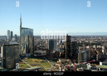 Italy, Lombardy, Milan, cityscape with Unicredit Tower from the Belvedere Enzo Jannacci in the Pirelli skyscraper - Stock Photo