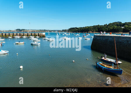 Douarnenez, France - August 2, 2018: The fishing port a sunny day of summer - Stock Photo