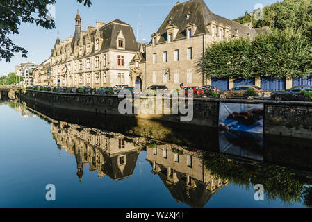 Quimper, France - August 2, 2018: Cityscape of the capital of the Finistere department of Brittany in northwestern France - Stock Photo