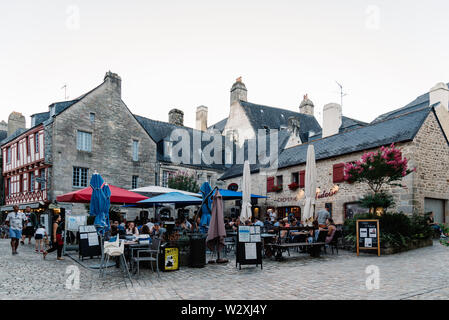 Quimper, France - August 2, 2018: Cityscape of the old town of Quimper, the capital of the Finistere department of Brittany in northwestern France - Stock Photo