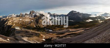 Panoramic view on Cadini di Misurina mountains - Stock Photo