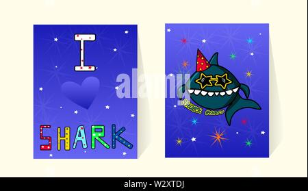 Cards for invitations to the birthday party baby shark. Cute cartoon character fish. Marine decor and inscriptions. Funny letters with a picture. Against the background of fireworks and stars. Blue backside. Vector illustration for poster print. - Stock Photo