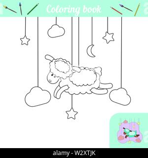 Cute lamb and stars. Coloring page with color example. A simple coloring game for preschoolers. Cartoon character farm animal sheep. Poster for printing. Black and white silhouette. Educational card. Vector illustration Moon, cloud, night - Stock Photo