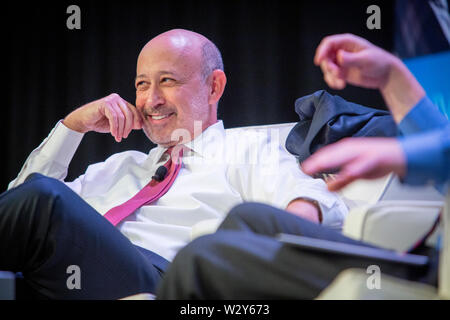 Chairman and CEO of Goldman Sachs, Lloyd Blankfein, answers questions from the moderator and from the audience during a panel interview at the annual meeting for 'sifma', The Securities Industry and Financial Markets Association. - Stock Photo