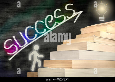 The man figure stepping books. reaching the target by reading. concept photo - Stock Photo
