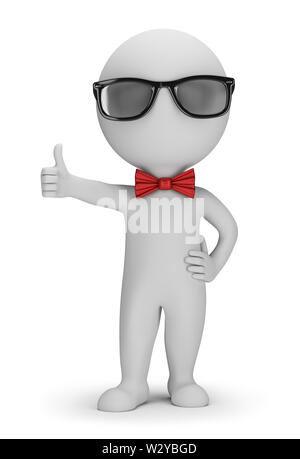 3D Hipster - Positive Pose. 3d image. White background. - Stock Photo