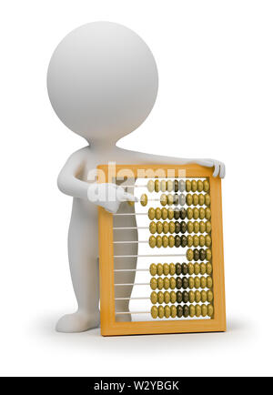 3d small people with abacus. 3d image. Isolated white background. - Stock Photo