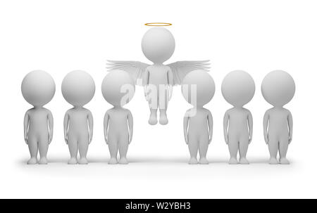 3d small people - flied up angel. 3d image. Isolated white background. - Stock Photo