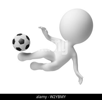 3d small people - soccer player striking in a jump on a ball . 3d image. Isolated white background. - Stock Photo
