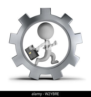3d small person - businessman with briefcase running in gear wheel. 3d image. Isolated white background. - Stock Photo