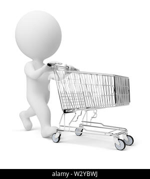 3d small people with a store cart. 3d image. Isolated white background. - Stock Photo