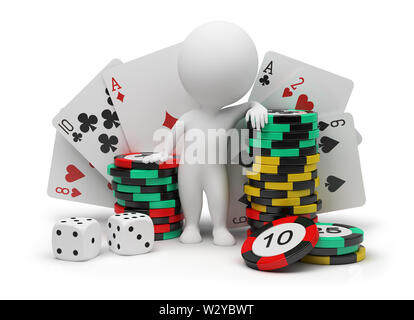 3d small people with counters for a roulette, playing cards and bones. 3d image. Isolated white background. - Stock Photo