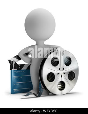 3d small person standing next to cinema clapper and film tape 3d image. White background. - Stock Photo