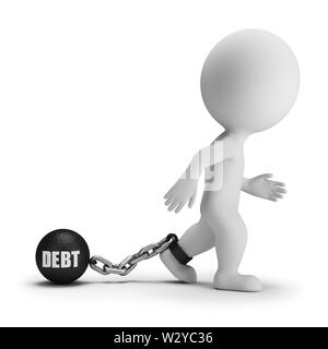 3d small person with a load of debt on the leg with the inscription. 3d image. White background. - Stock Photo