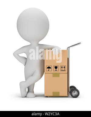 3d small person leaned on a cart with boxes. 3d image. White background. - Stock Photo
