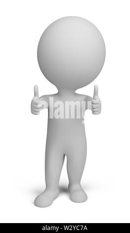 3d small person - double thumbs up. 3d image. Isolated white background. - Stock Photo