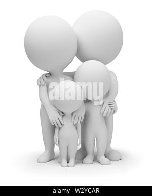 3d small people - parents with children. 3d image. Isolated white background. - Stock Photo