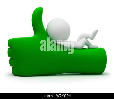 3d small people lying on a positive symbol. 3d image. Isolated white background. - Stock Photo