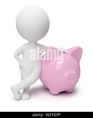 3d small people with a coin box in the form of a pig. 3d image. Isolated white background. - Stock Photo