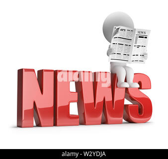 3d small person reading a newspaper on the inscription news. 3d image. White background. - Stock Photo