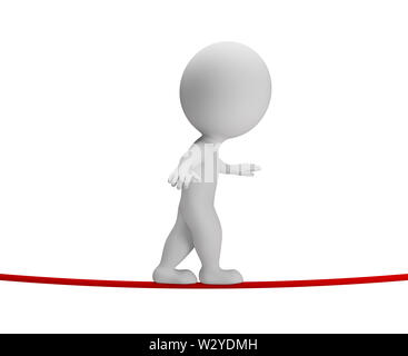 3d small person walking on rope. 3d image. White background. - Stock Photo