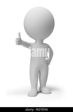 3d small person with the hand extended forward and the thumb of a hand lifted upwards. 3d image. Isolated white background. - Stock Photo