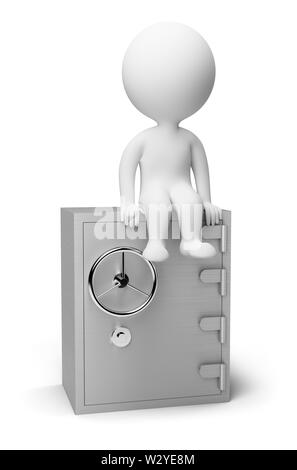 3d small people sitting on the safe. 3d image. Isolated white background. - Stock Photo