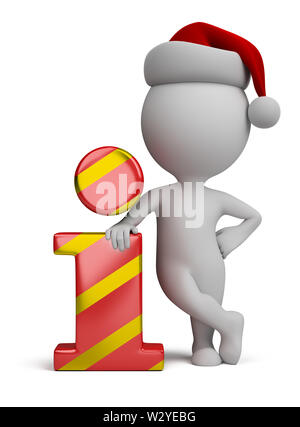 3d small person - Santa standing next to the info icon. 3d image. White background. - Stock Photo