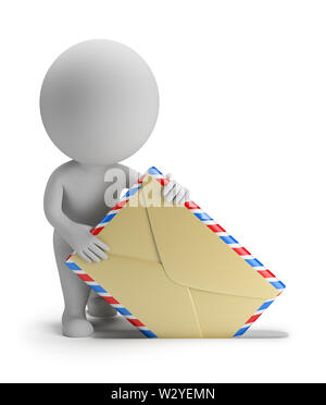 3d small person sends letter. 3d image. Isolated white background. - Stock Photo