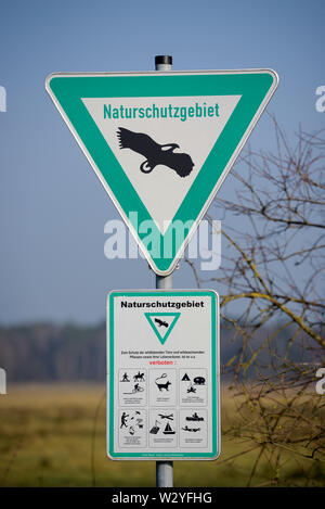 Sign of nature reserve, february, North Rhine-Westphalia, Germany - Stock Photo