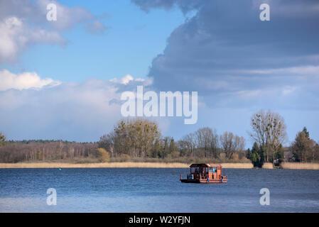 Houseboat, Woblitzsee, april, Gross Quassow, Mecklenburg-Vorpommern, Germany - Stock Photo