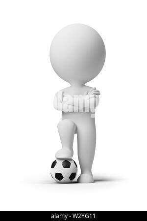 3d small people - soccer player with a ball. 3d image. Isolated white background. - Stock Photo