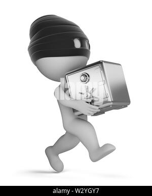 3d small person - running thief with a safe. 3d image. White background. - Stock Photo