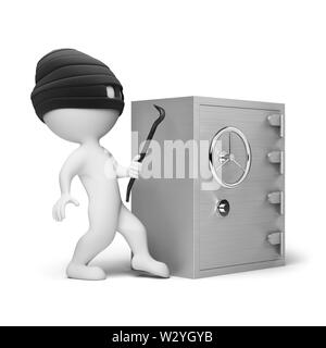 3d small people - thief in a mask with a crowbar in the hands, trying to crack the safe. 3d image. Isolated white background. - Stock Photo