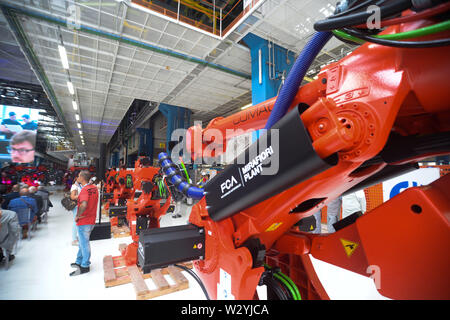 FIAT CHRYSLER AUTOMOBILES CORPORATE INSTALATION FIRST ROBOT FOR THE NEW 500 MIRAFIORI LINE (Edoardo Sismondi/Fotogramma, TORINO - 2019-07-11) p.s. la foto e' utilizzabile nel rispetto del contesto in cui e' stata scattata, e senza intento diffamatorio del decoro delle persone rappresentate - Stock Photo