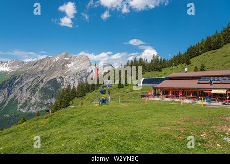 Scenic view from the Oeschinen mountain station with the mountain First, Kandersteg, Bernese Oberland, Canton of Bern, Switzerland, Europe - Stock Photo