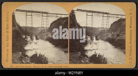 New Iron RR Bridge, Portage, NY -- (first passenger train), by Walker, L E, 1826-1916 - Stock Photo