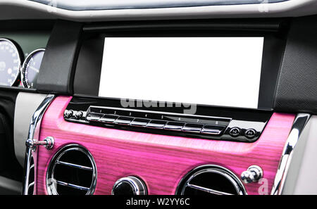Monitor in car with isolated blank screen use for navigation maps and GPS. Isolated on white with clipping path. Car detailing. Car display with blank - Stock Photo