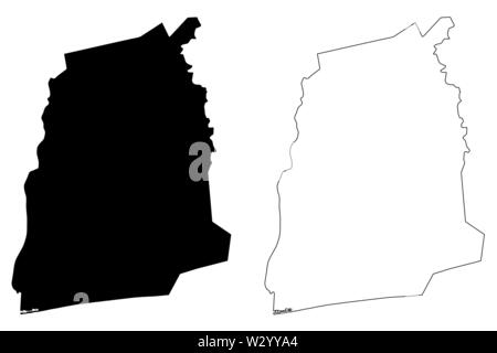 Atlantique Department (Departments of Benin, Republic of Benin, Dahomey) map vector illustration, scribble sketch Atlantique map - Stock Photo