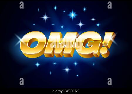 Gold omg inscription on blue background or banner with stars, emotion expression, vector illustration. - Stock Photo