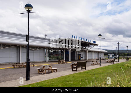 Outside Inverness Airport terminal building front entrance. Inverness, Invernes-shire, Highland, Scotland, UK, Britain - Stock Photo