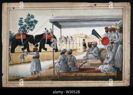 A Nawab and his guest watching an elephant fight. Gouache painting by an Indian painter. - Stock Photo
