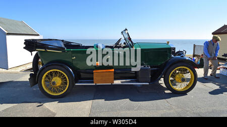 Vintage 1923 Stanley Steam Car Parked on Seafront  Promenade. - Stock Photo