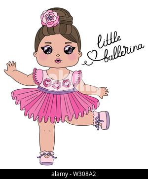 Cute baby girl dancer character with lettering Little ballerina. Little dancing ballerina in a pink dress isolated on white background. Perfect for - Stock Photo