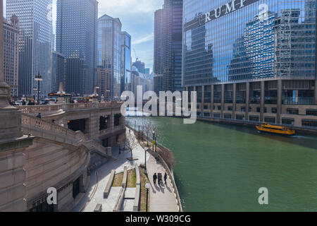 CHICAGO, ILLINOIS, USA - March 30, 2016: Trump Tower and International Hotel in Chicago - Stock Photo