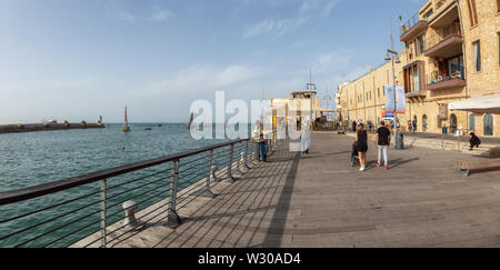 Tel Aviv, Israel - April 13, 2019: Beautiful view of the Old Port of Jaffa during a sunny day.