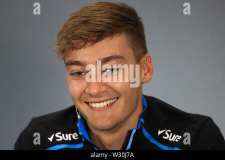 Silverstone, Northampton, UK. 11th July 2019. F1 Grand Prix of Great Britain, Driver arrivals day; ROKiT Williams Racing, George Russell during driver press conference Credit: Action Plus Sports Images/Alamy Live News - Stock Photo